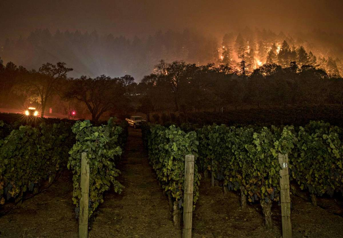 A fire crew keeps watch at Vineyard 29 as the Glass Fire burns between St. Helena and Calistoga in September 2020.